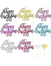 44 STKS Gepersonaliseerde Cake Toppers, 8 kleuren Happy Birthday Cake Decorations, Shining Gold Silver Hearts Cupcake Topper, met 24 Sticks en 20 Mini Lijmen, Grote verrassing voor meisjes jongens Party
