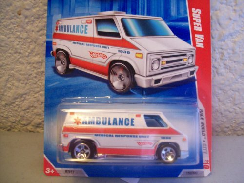 Hot Wheels 2010 Race World Super Van Ambulance 1:64 Scale