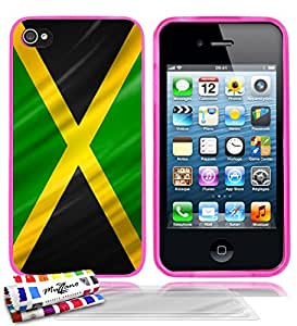 """Carcasa Flexible Ultra-Slim APPLE IPHONE 4S de exclusivo motivo [Jamaica Bandera] [Rosa] de MUZZANO  + 3 Pelliculas de Pantalla """"UltraClear"""" + ESTILETE y PAÑO MUZZANO REGALADOS - La Protección Antigolpes ULTIMA, ELEGANTE Y DURADERA para su APPLE IPHONE 4S"""