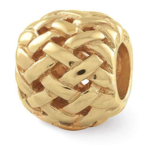 Sterling Silver Gold-Plated Reflection Basket weave Bali Solid Bead (Bali Weave Bracelet)