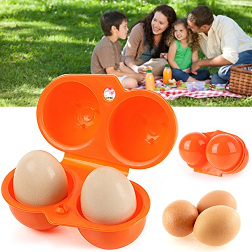 Portable Egg Storage Box - 2 Egg Case Carrier Tray - Barbecue & Picnic Supplies - Egg Container Hard Boiled Egg Holder Camping Carrier