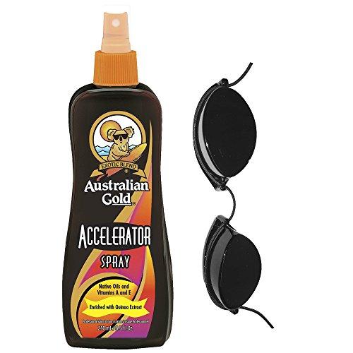 Australian Gold Dark Tanning Accelerator Spray & Free Sunbed Goggles