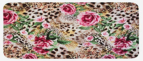 (Lunarable Leopard Kitchen Mat, Exotic Jungle Nature Theme with Furry Animal Skin Pink Rose and Hibiscus Blossoms, Plush Decorative Kithcen Mat with Non Slip Backing, 47