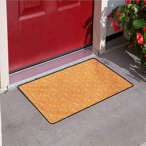 Jinguizi Harvest Commercial Grade Entrance mat Pattern with Pumpkin Leaves and Swirls on Orange Backdrop Halloween Inspired for entrances garages patios W19.7 x L31.5 Inch Orange White]()