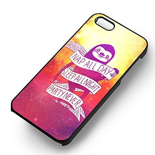 Nap All Day Sloth pour Coque Iphone 6 et Coque Iphone 6s Case (Noir Boîtier en plastique dur) E4Y5GP