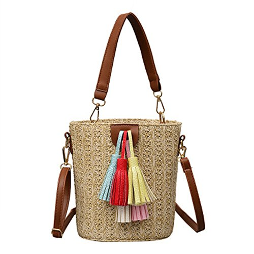 Meaeo Bags Woven Straw Beach Bag Tassel Bucket Bag Single Shoulder Bag Small Refreshing, Yellow Yellow