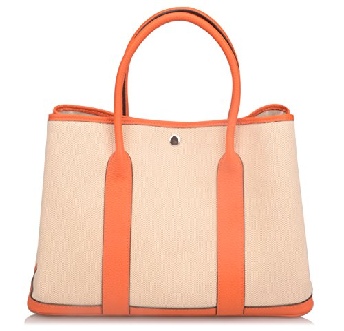 Ainifeel Women's Genuine Leather Top Handle Handbag Shopping Bag Tote Bag (Orange(leather+canvas)) by Ainifeel (Image #3)