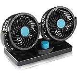 LehaiGo 12V Electric Car Fan, 360 Degree Rotatable 2 Speed Dual Head Car Auto Cooling Fan, Air Circulator Fan for Van SUV RV Boat Auto Vehicles Golf Cart