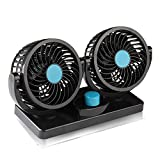 LehaiGo 12V Electric Car Fan, 360 Degree Rotatable 2 Speed Dual Head Car Auto Cooling Fan, Air Circulator Fan for Van SUV RV Boat Auto Vehicles Golf Cart