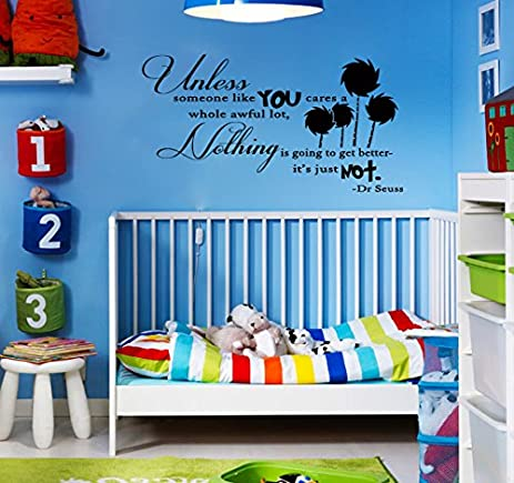 Delightful UNLESS Dr Seuss Inspired Quote Vinyl Wall Decal [BLACK] By GMDdecals Lorax  Truffula Trees Part 31