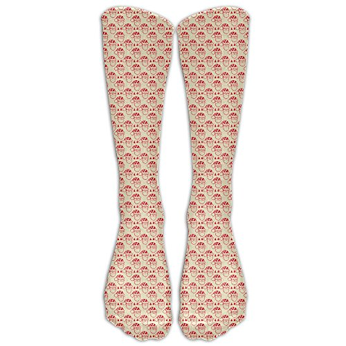 Free Christmas 1 Pair Over-The-Calf Socks Cosplay Socks Knee High Lightweight Ribbed Dress Stockings (Meme Early Lights Christmas)