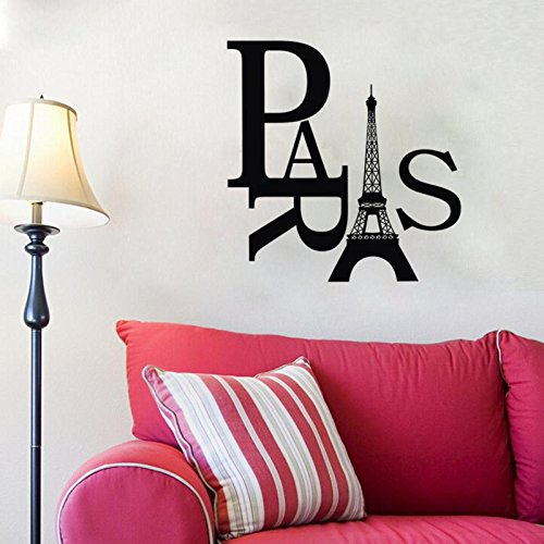 Home Product New Fashion Paris Eiffel Tower Removable PVC Wall Sticker Home Bedroom Decor Art Decal Black