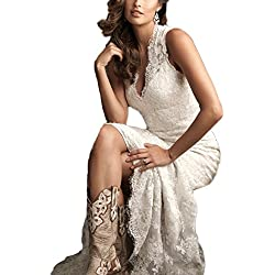 DreHouse Women's Lace Vintage Country Style Wedding Dresses Backless Plus Size