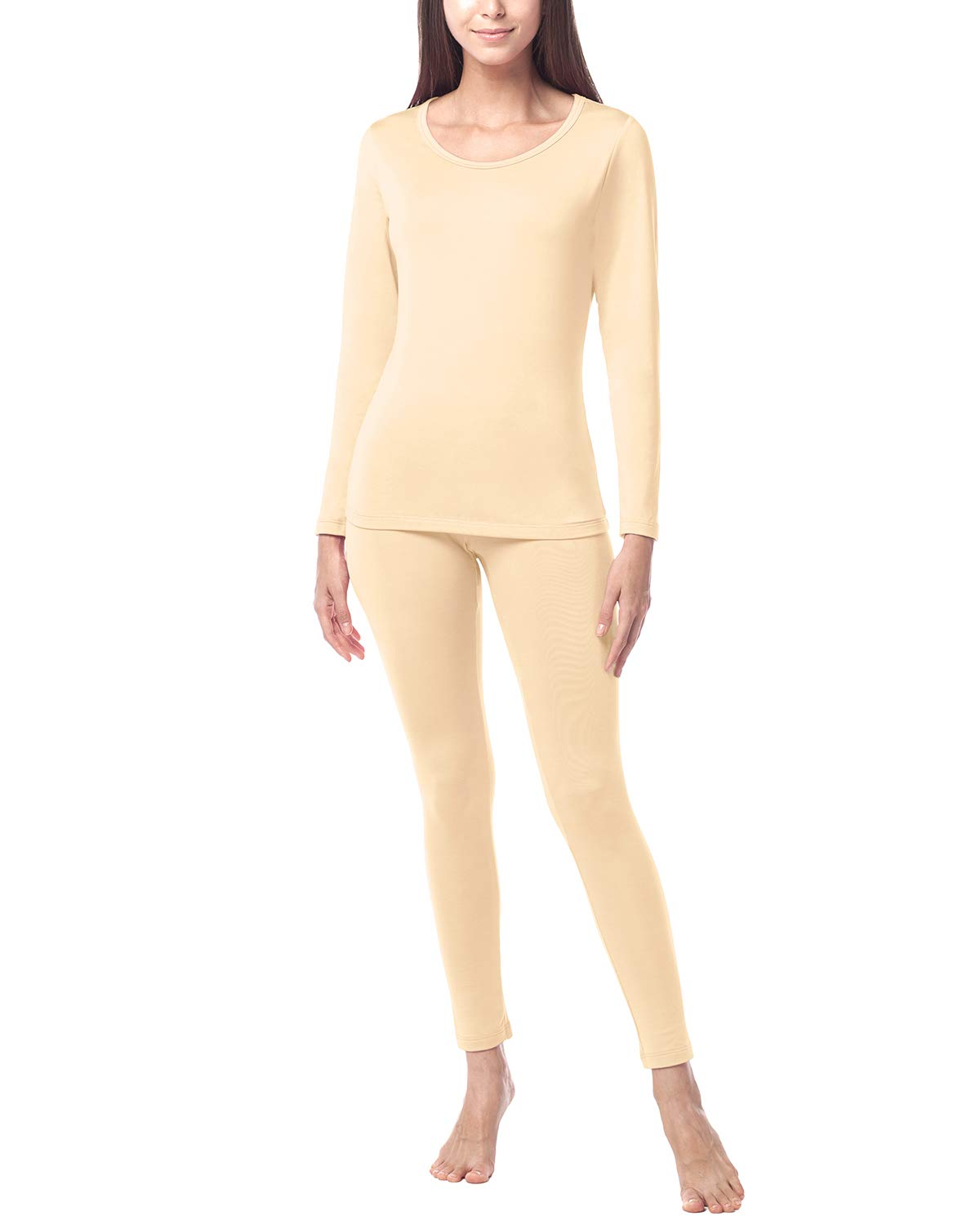 LAPASA Women's Lightweight Thermal Underwear Long John Set Fleece Lined Base Layer Top and Bottom L17 (Large, Nude) by LAPASA