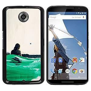 GOODTHINGS Funda Imagen Diseño Carcasa Tapa Trasera Negro Cover Skin Case para Motorola NEXUS 6 / X / Moto X Pro - océano surf verde sol del verano