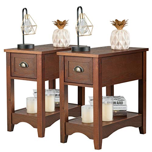 Giantex Chair Side End Table with Drawer, Retro Narrow Tiered Side Table, Compact Nightstand with Storing Shelf, End Table for Living Room Bedroom Home Office 2, Walnut
