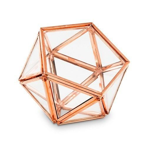 Bella's garden Geometric Terrarium Container Desktop Planter Succulent Fern Moss Air Plants Holder Miniature Indoor Fairy Garden Gift Wedding Ring Glass Box (Small, Rose Gold)