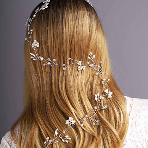 Yean Flower Silver Wedding Headband Leaf Bridal Hair Vine Halo for Women and Girls (Silver)