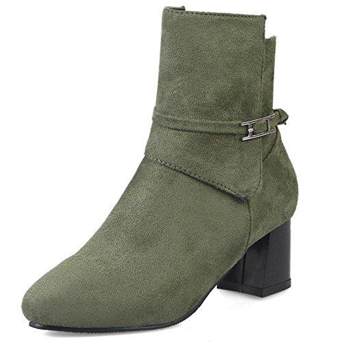 COOLCEPT Damen Freizeit Mit Blockabsatz Booties Zipper Ankle Stiefel Green