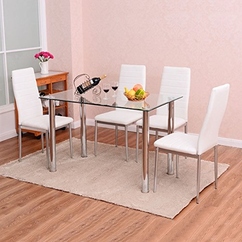 Costway 5 Piece Dining Set Table and 4 Chairs Glass Metal Ki