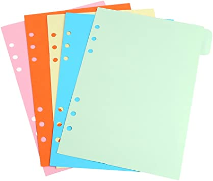 5Pcs A5//A6 Size Blank Index Multi-Coloured Tabs Divider Insert Refill Organiser