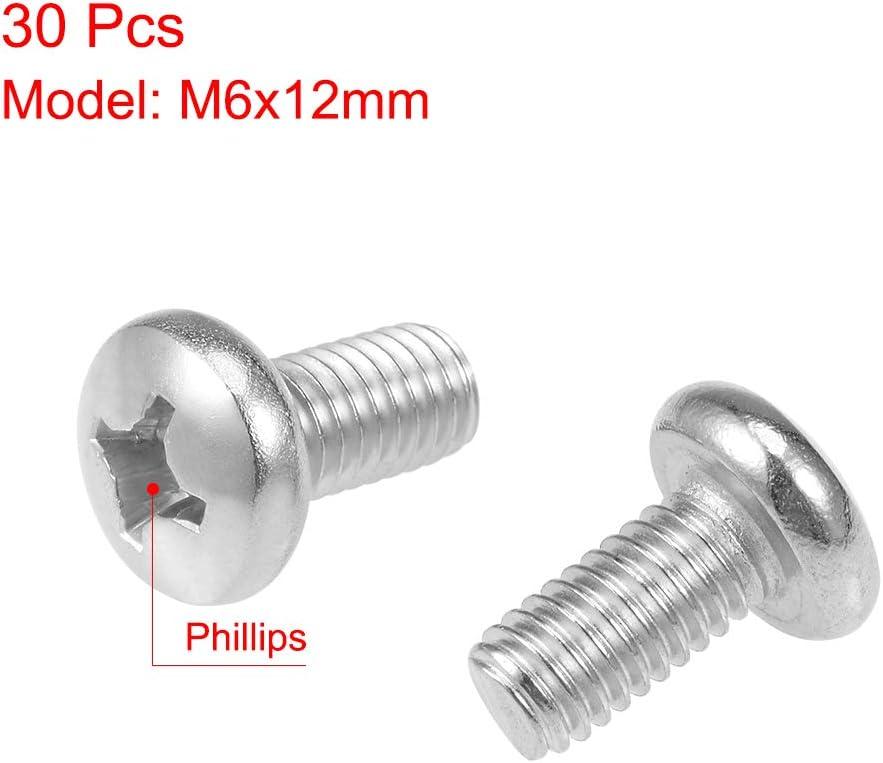 uxcell M6x12mm Machine Screws Pan Phillips Cross Head Screw 304 Stainless Steel Fasteners Bolts 30Pcs