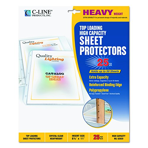 C-Line High Capacity Top Loading Heavyweight Poly Sheet Protectors, Clear, 8.5 x 11 Inches, 25 per Box (62020) ()