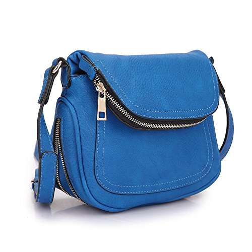 MKY Lightweight Women Leather Saddle Bag Shoulder Crossbody Bag Travel Purse Blue by MKY