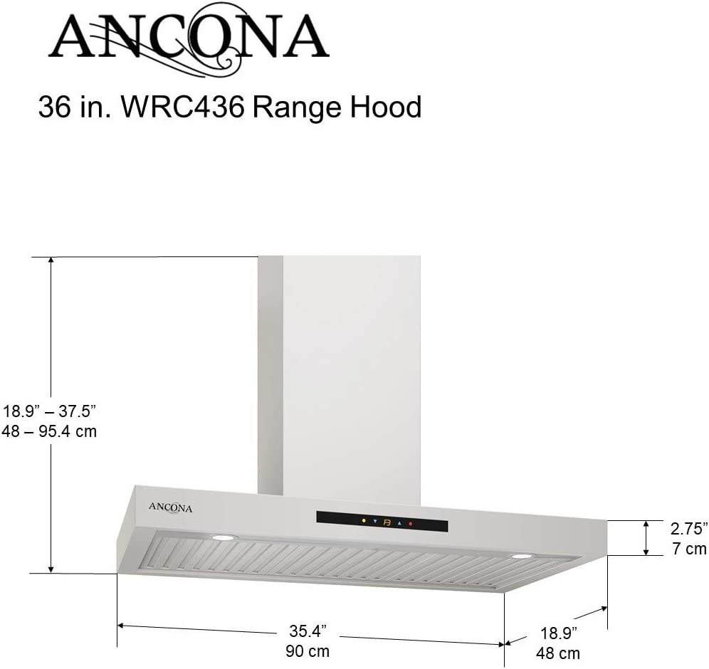 Ancona WRC430 Wall-Mounted Rectangle Shaped Convertible Range Hood 30-Inch Stainless Steel