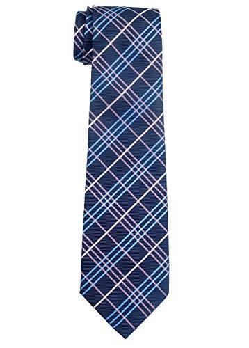 Retreez Tartan Plaid Styles Woven Boy's Tie (8-10 years) - Dark Purple