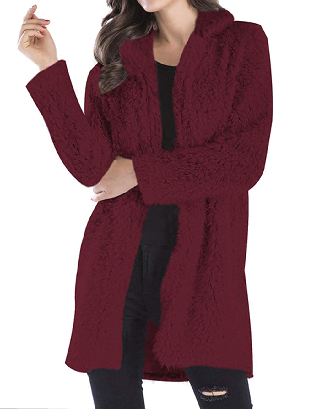 XXXITICAT Women's Fuzzy Faux Fur Coat Long Sleeve Jacket