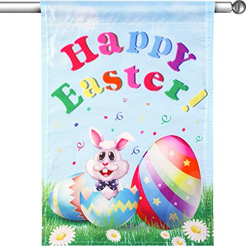 Chuangdi Easter Egg and Rabbit Garden Flag 28 x 40 Inch Decorative Spring Garden Flag Double Side Garden Flag (Color 5, 28 x 40 Inch) -
