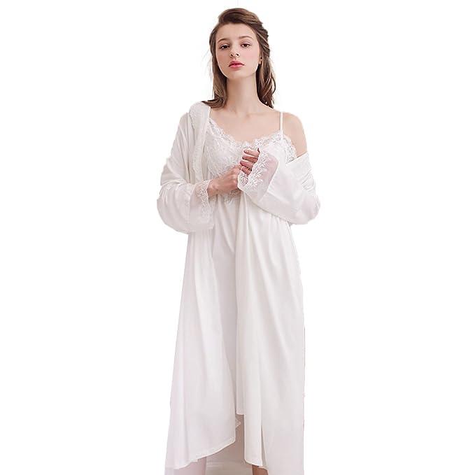 Pijama De Verano Para Mujer Bata Sexy Camisón De Dos Piezas De Manga Larga Fina Albornoz Suelto,White-OneSize: Amazon.es: Ropa y accesorios