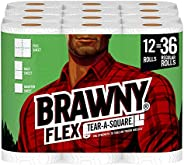 Brawny Flex Paper Towels, Tear-A-Square, 12=36 Rolls