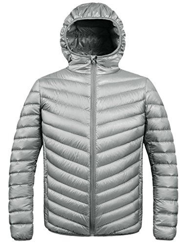 ZSHOW Men's Winter Hooded Packable Down Jacket(Grey,X-Large) Down Snowboarding Jackets