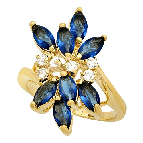 The Bling Factory Gold Plated Cluster Ring w/Blue Marquise & Clear Round Czs, Size 4 + Jewelry Cloth & Pouch