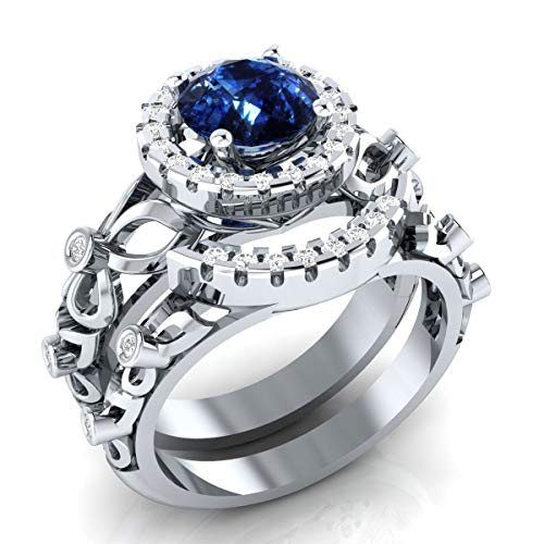 DreamJewels 2.00 ct Blue Sapphire and Simulated Diamond Bridal Ring Set 2 Piece in 14k White Gold Over Engagement Wedding Ring Set ()