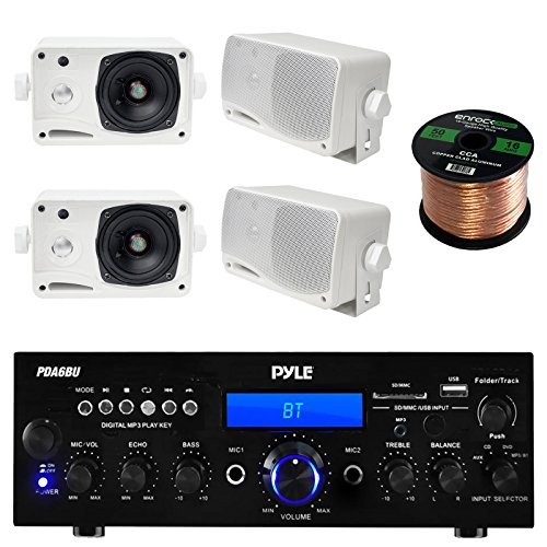 Pyle PDA6BU USB/SD-Card 200-Watt Bluetooth Stereo Amplifier Receiver, 4x Pair PLMR24 Pyle 3.5'' 200 Watt 3-Way Weather Proof Mini Box Speaker System (White), Enrock Audio 16-Gauge 50 Foot Speaker Wire (Patio Stereo)