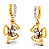 JewelsForum 14Kt Yellow Gold Drop Dangler Diamond Earrings 0.33 Carat TCW