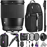 Photo : Sigma 16mm F1.4 DC DN Contemporary Lens for SONY E Mount Cameras w/ Advanced Photo and Travel Bundle