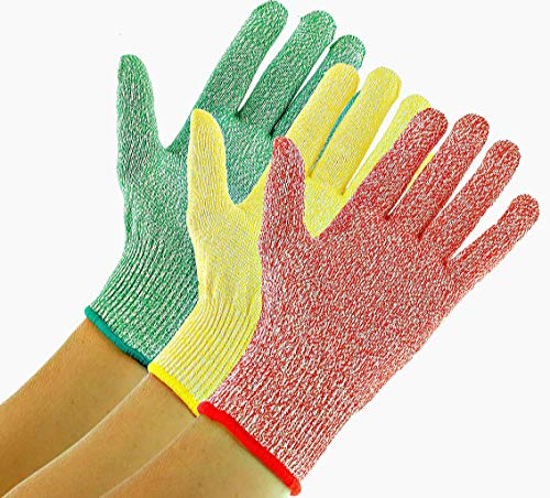 3 Pack TruChef Cut Resistant Gloves - Maximum Level 5 Protection, Food Grade, 3 Fun Colors To Prevent Cross Contamination, Fits Both Hands, Size Small ()