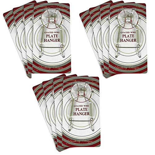Set Wall Hanger Brass (BANBERRY DESIGNS Brass Vinyl Coated Plate Hanger 8 to 10 Inch - Set of 12 Pcs - Clear Vinyl Sleeves Protect The Plate - Hook and Nail Included)