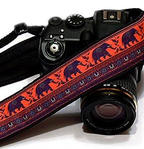 Great Gift Idea for Photographer - Lucky Elephants Camera Strap, Happiness Symbol. Photo Gear. SLR / DSLR Camera Strap. Purple, Orange; 192