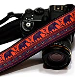 Great Gift Idea for Photographer - Lucky Elephants Camera Strap, Happiness Symbol. Photo Gear. SLR/DSLR Camera Strap. Purple, Orange; 192