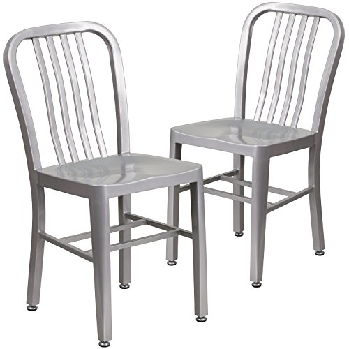 Flash Furniture 2 Pack Silver Metal Indoor-Outdoor Chair – 2-CH-61200-18-SIL-GG