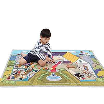 "[LEPAPA] 59.1"" x 39.4"" Baby Kids Toddler Le Bonheur Microfiber Secret Castle Petite Play Mat Carpet for Indoor and Outdoor Use, 3D Graphic, Interactive & Complex Play"
