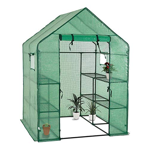 Portable Gardening Steeple Green House with PE Cover, 3 Tier 12 Shelf Waterproof Walk in Plant Green House,56'' L x 56'' W x 77'' H by SCYL (Image #1)