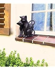Antikas - 2 Gatos como decoración en la Ventana Puerta de casa o jardín - 2 Gatos Decorativos