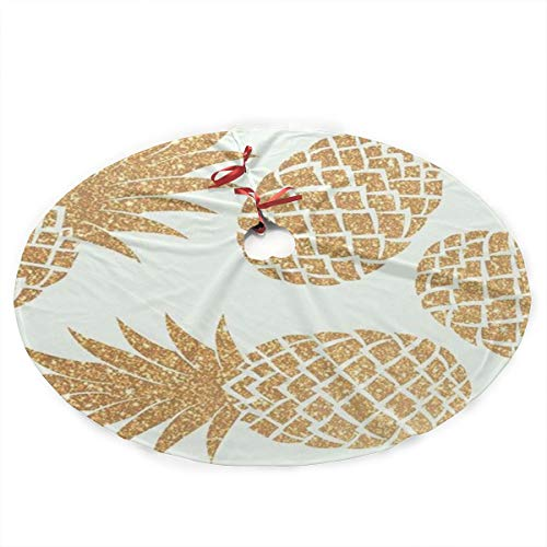 (FHIEJSW Pineapple Aloha Beaches Hawaii Christmas Tree Skirt Ornament 35.5inch Diameter)