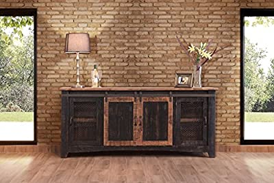 "Anton Black Finish 80"" Rustic Sliding Barn Door TV Stand Console"